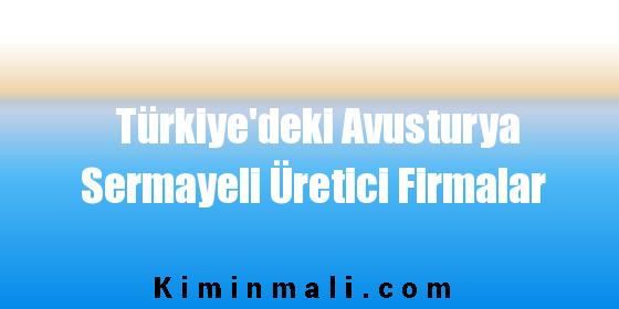 Türkiye'deki Avusturya Sermayeli Üretici Firmalar